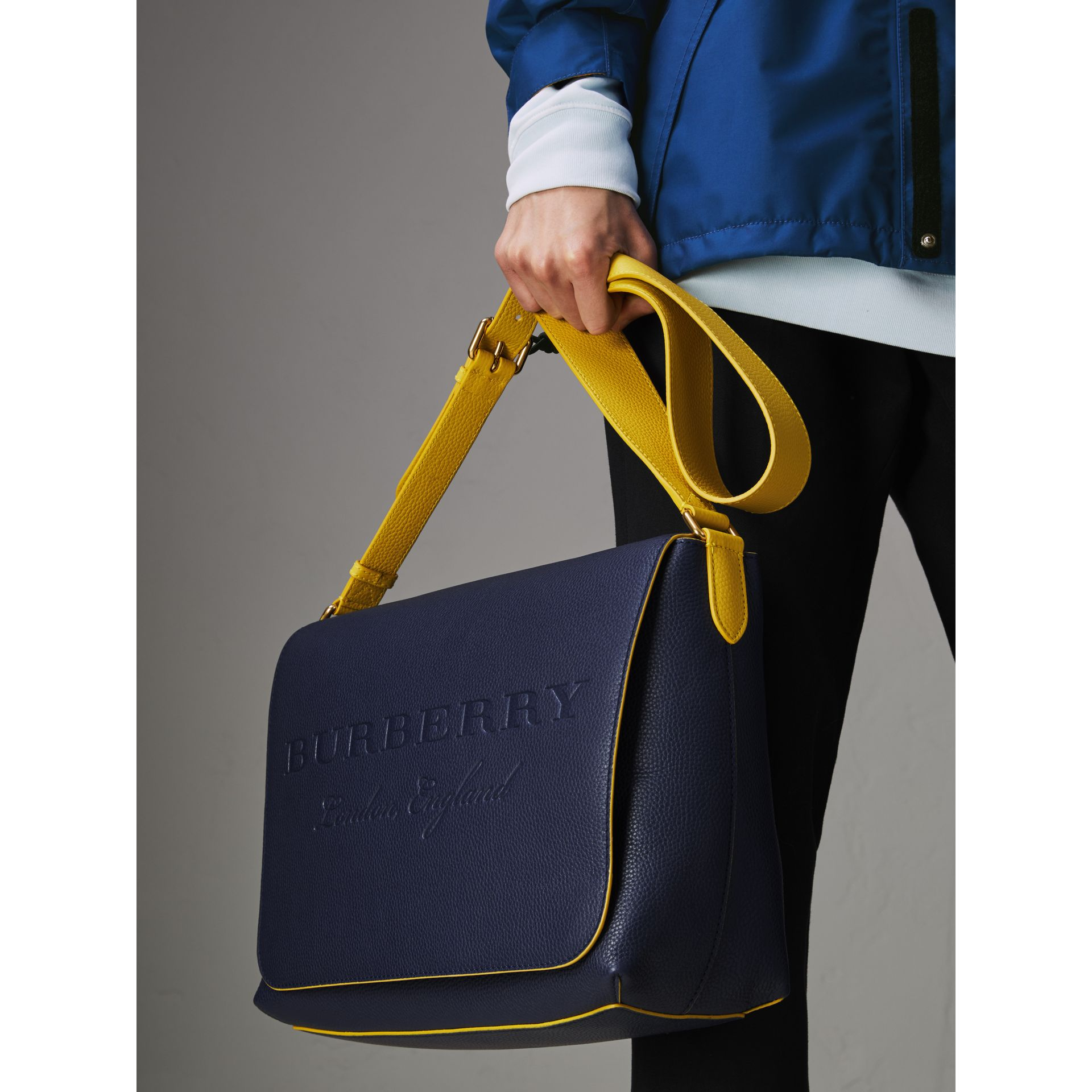 Large Two-tone Embossed Leather Messenger Bag in Regency Blue - Men | Burberry Singapore - gallery image 3