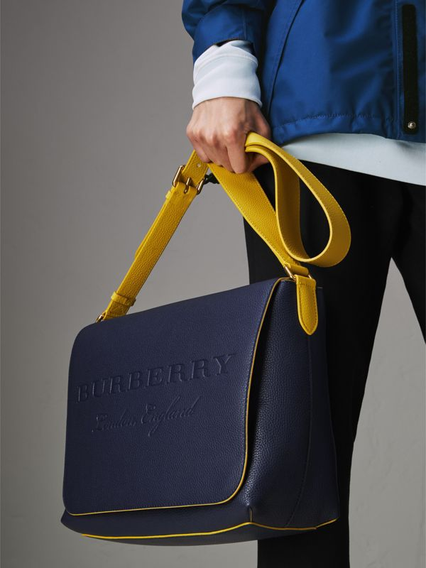 Large Two-tone Embossed Leather Messenger Bag in Regency Blue - Men | Burberry Singapore - cell image 3