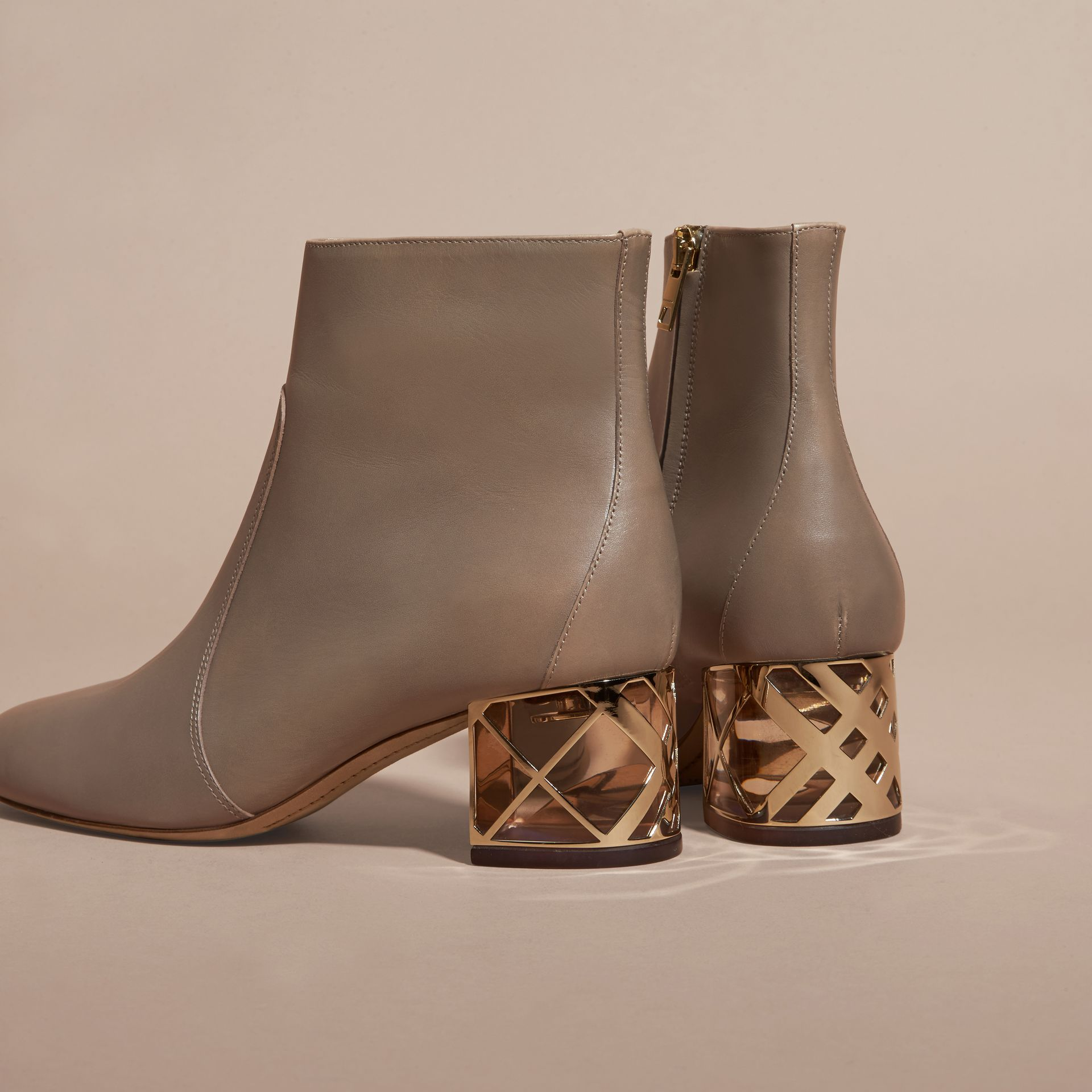 Mink grey Check Heel Leather Ankle Boots Mink Grey - gallery image 4
