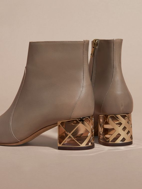 Mink grey Check Heel Leather Ankle Boots Mink Grey - cell image 3