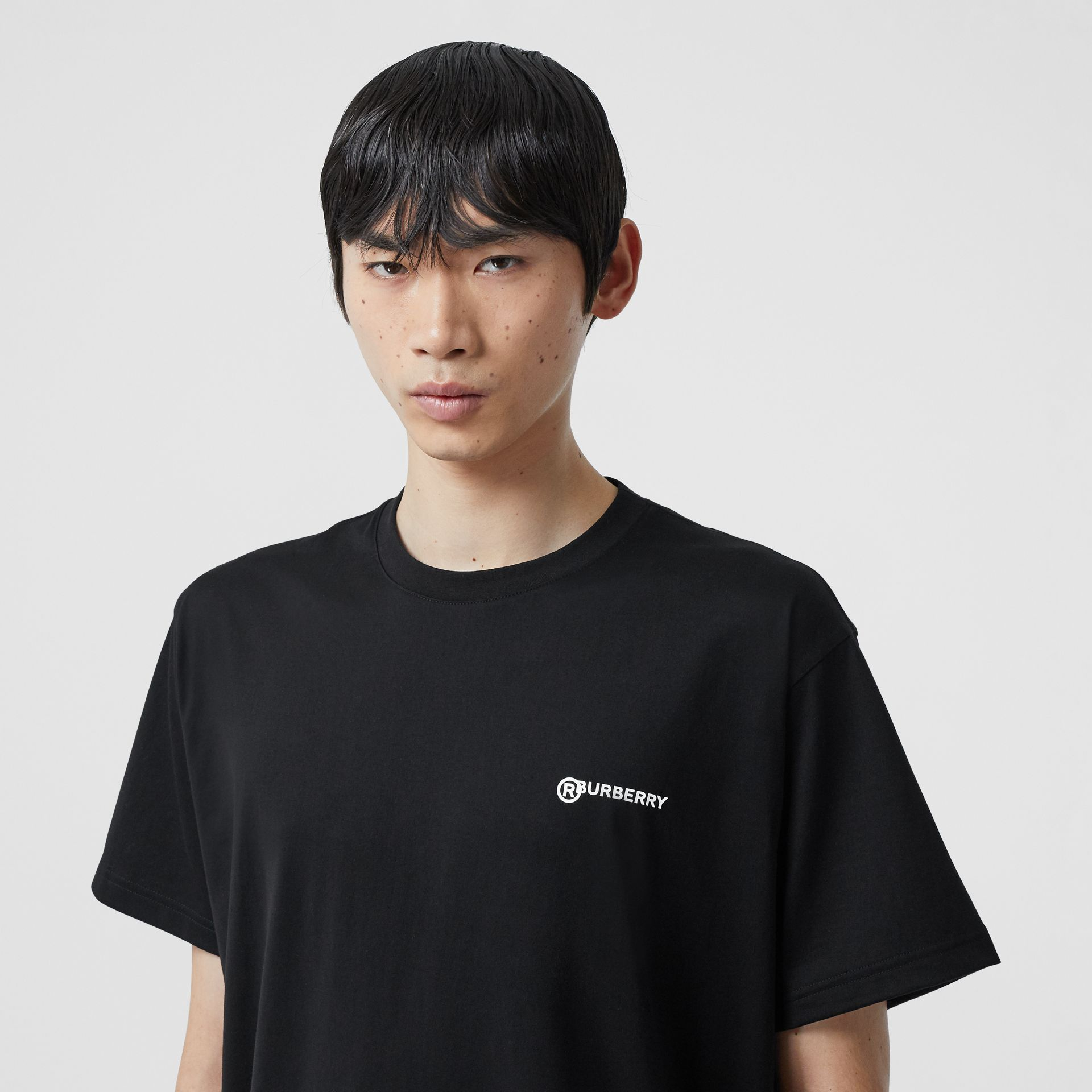 Location Print Cotton Oversized T-shirt in Black - Men | Burberry - gallery image 0