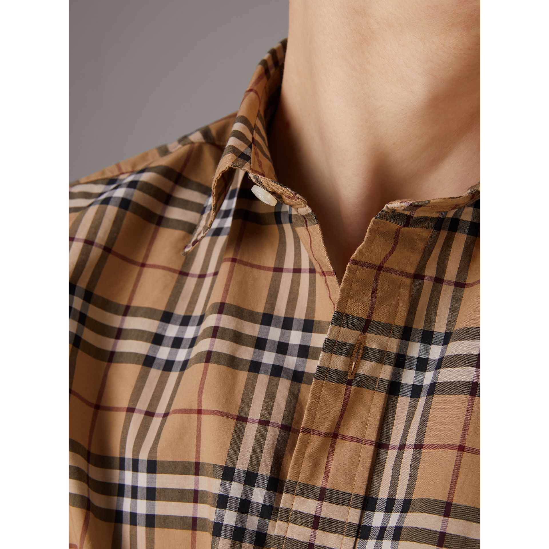 Short-sleeve Check Cotton Shirt in Camel - Men | Burberry United Kingdom - gallery image 1