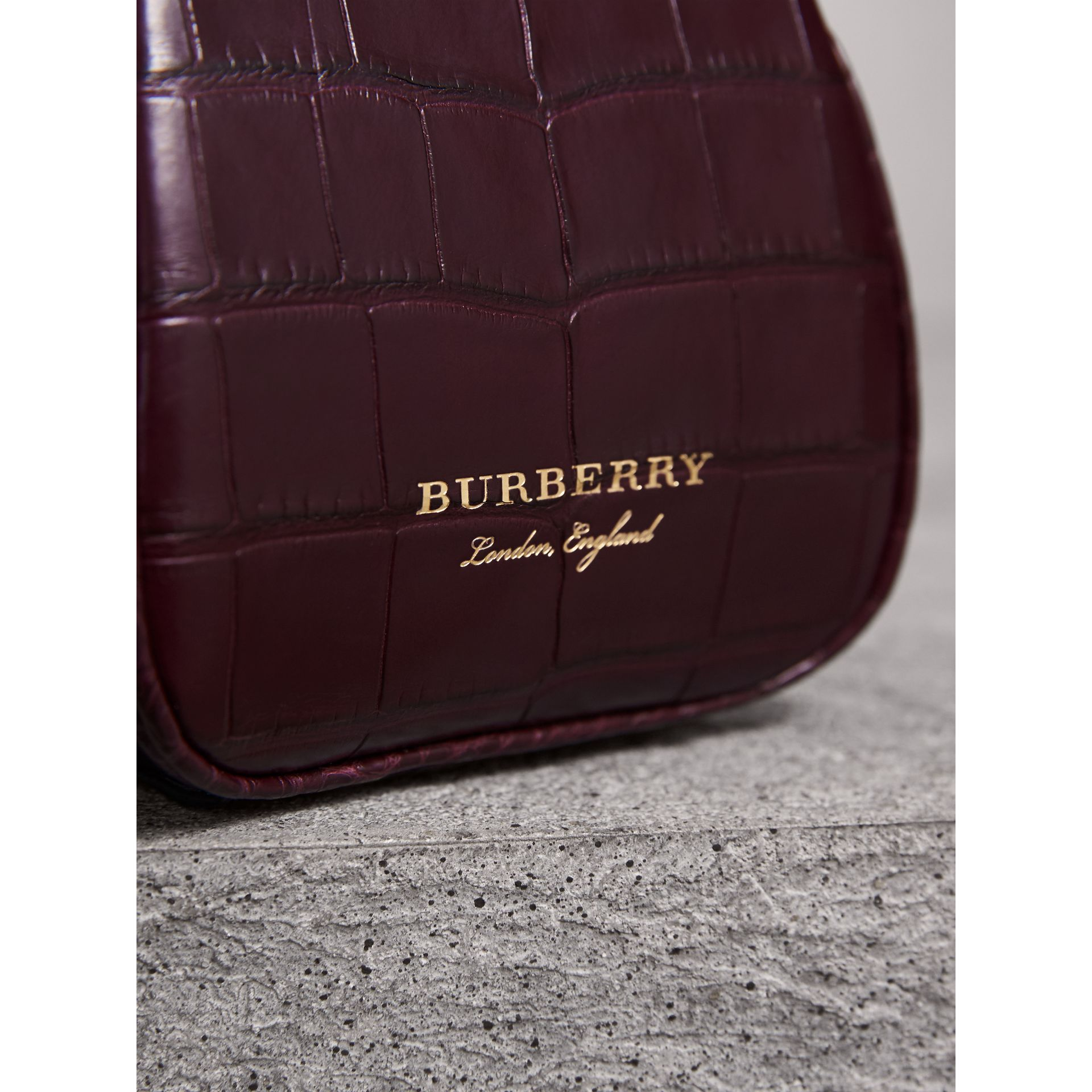 Mini Alligator Metal Frame Clutch Bag in Dark Claret - Women | Burberry United Kingdom - gallery image 1