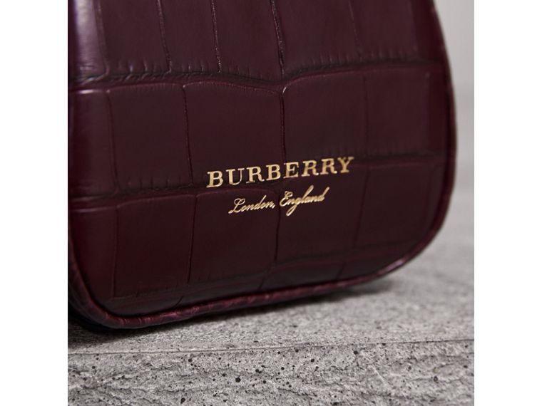 Mini Alligator Metal Frame Clutch Bag in Dark Claret - Women | Burberry - cell image 1