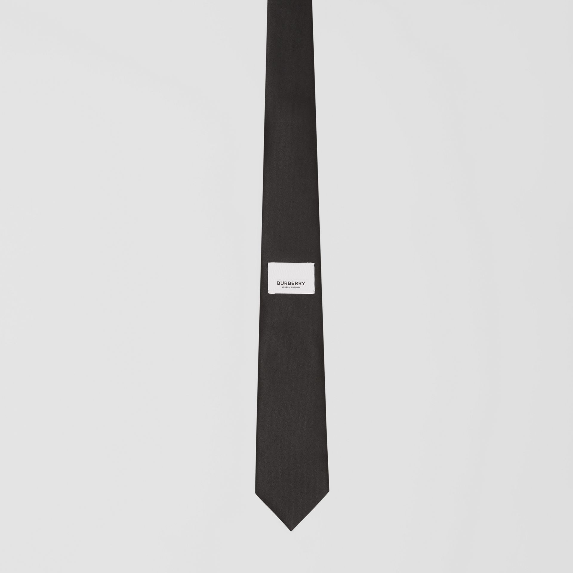 Classic Cut Logo Appliqué Silk Satin Tie in Black - Men | Burberry - gallery image 3