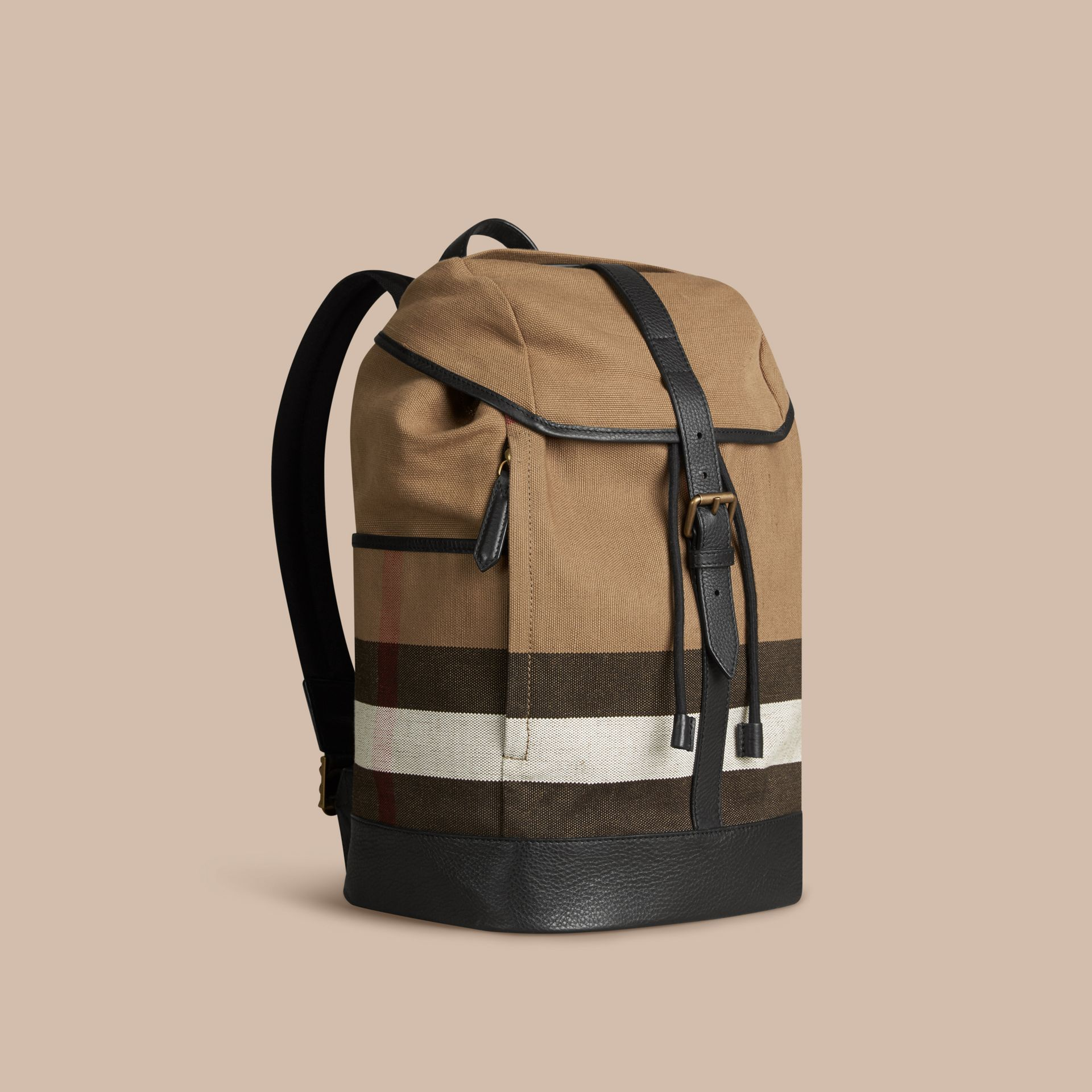 Camel Canvas Check Backpack - gallery image 1