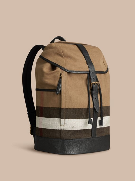 Canvas Check Backpack Camel