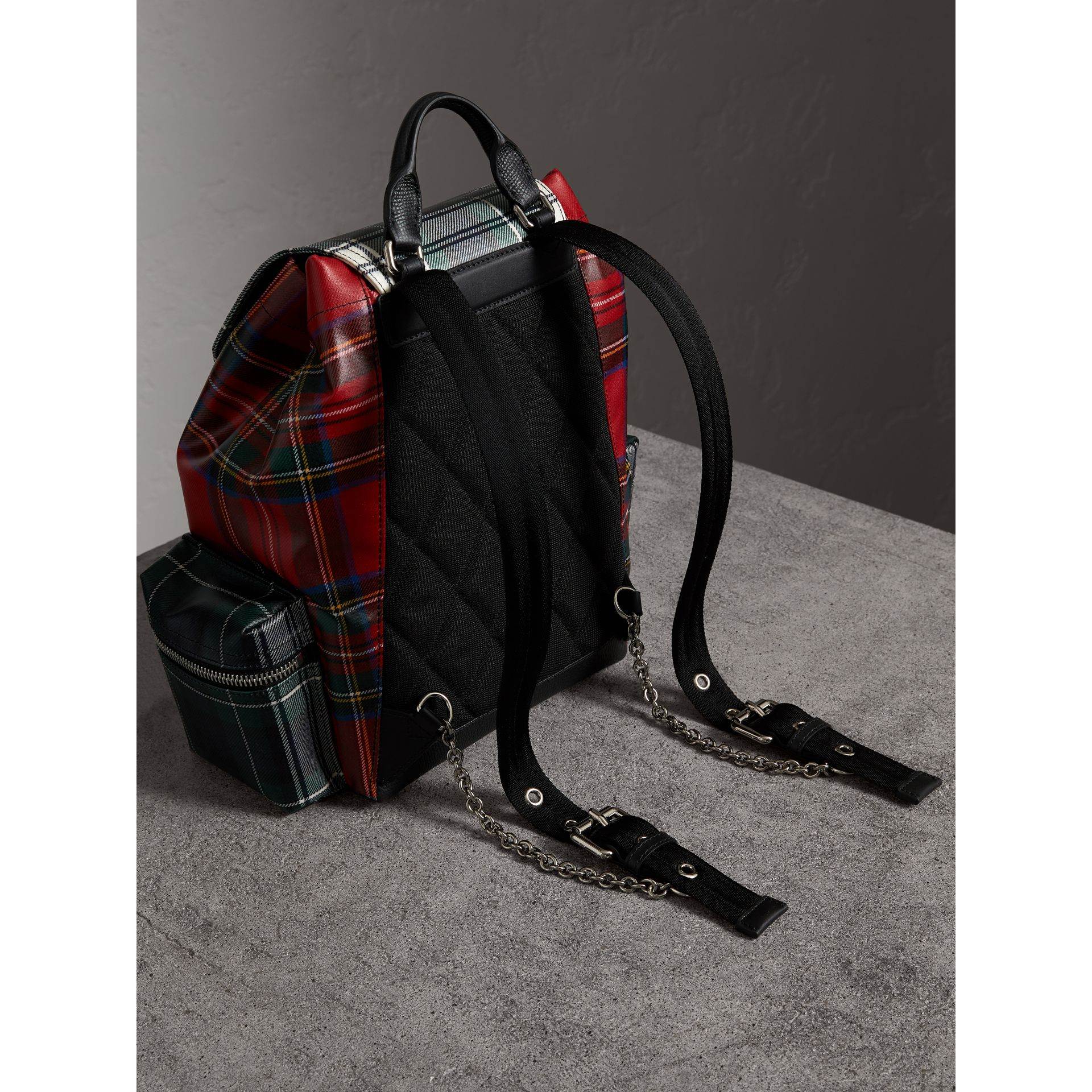 The Medium Rucksack in Laminated Tartan in Military Red - Women | Burberry Singapore - gallery image 3