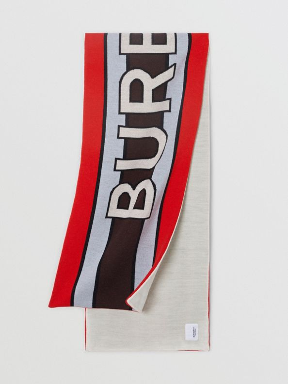 Écharpe en laine mélangée avec logo en jacquard (Rouge Vif)