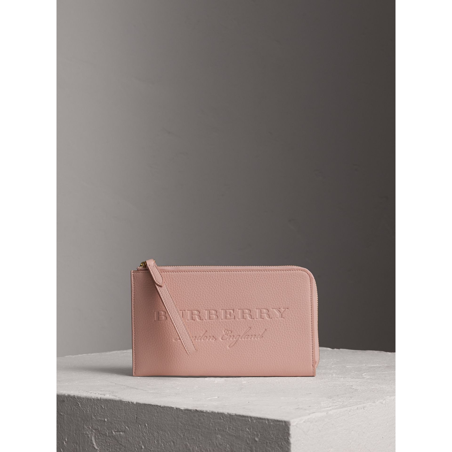 Embossed Leather Travel Wallet in Pale Ash Rose | Burberry United Kingdom - gallery image 0