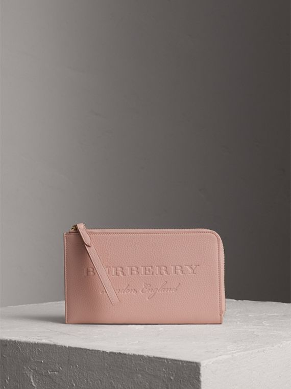 Embossed Leather Travel Wallet in Pale Ash Rose