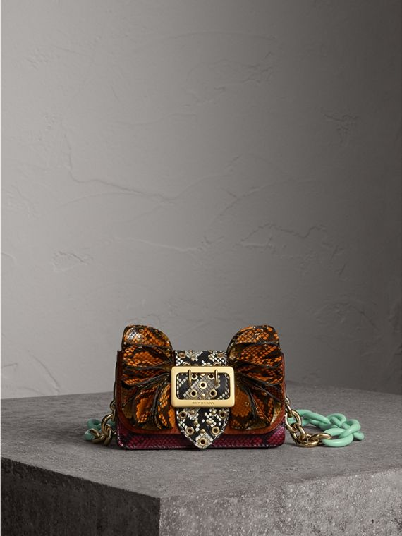 The Ruffle Buckle Bag in Snakeskin and Calfskin in Redwood