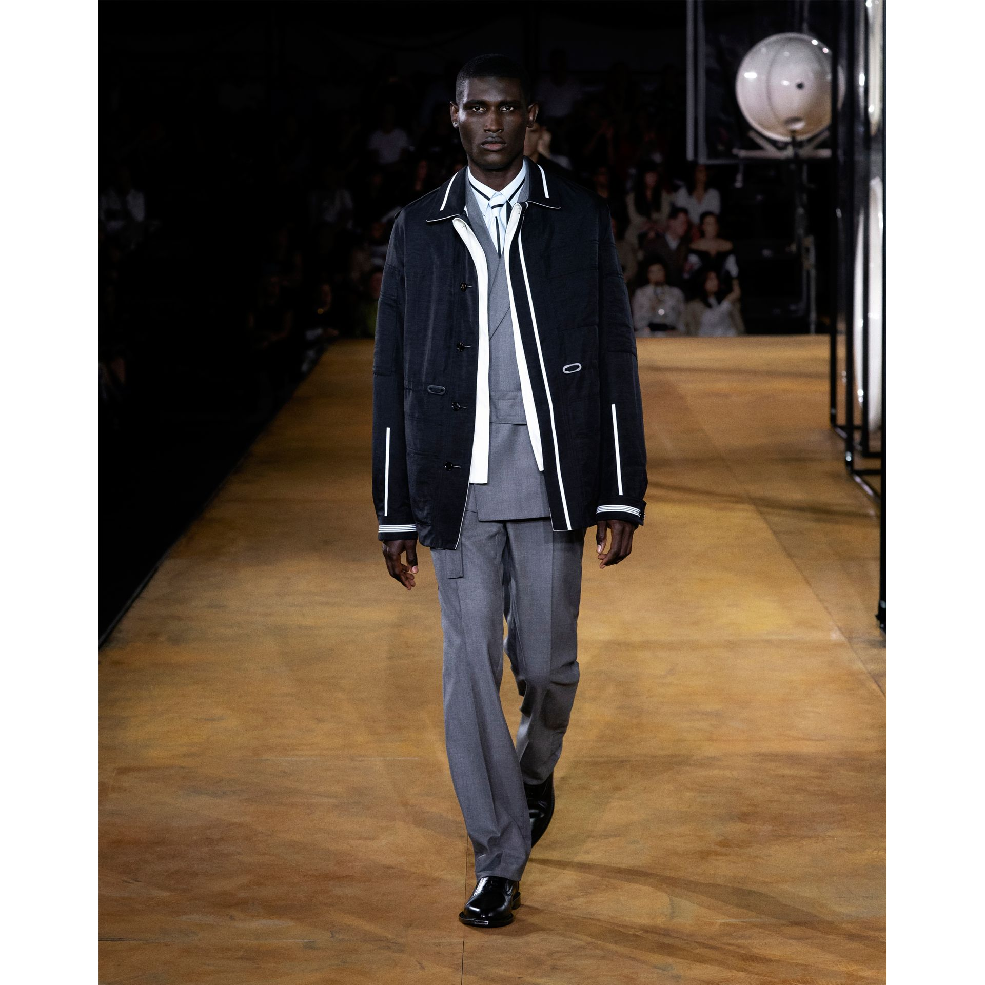 Reversible Striped Technical Linen Field Jacket in Black | Burberry - gallery image 9