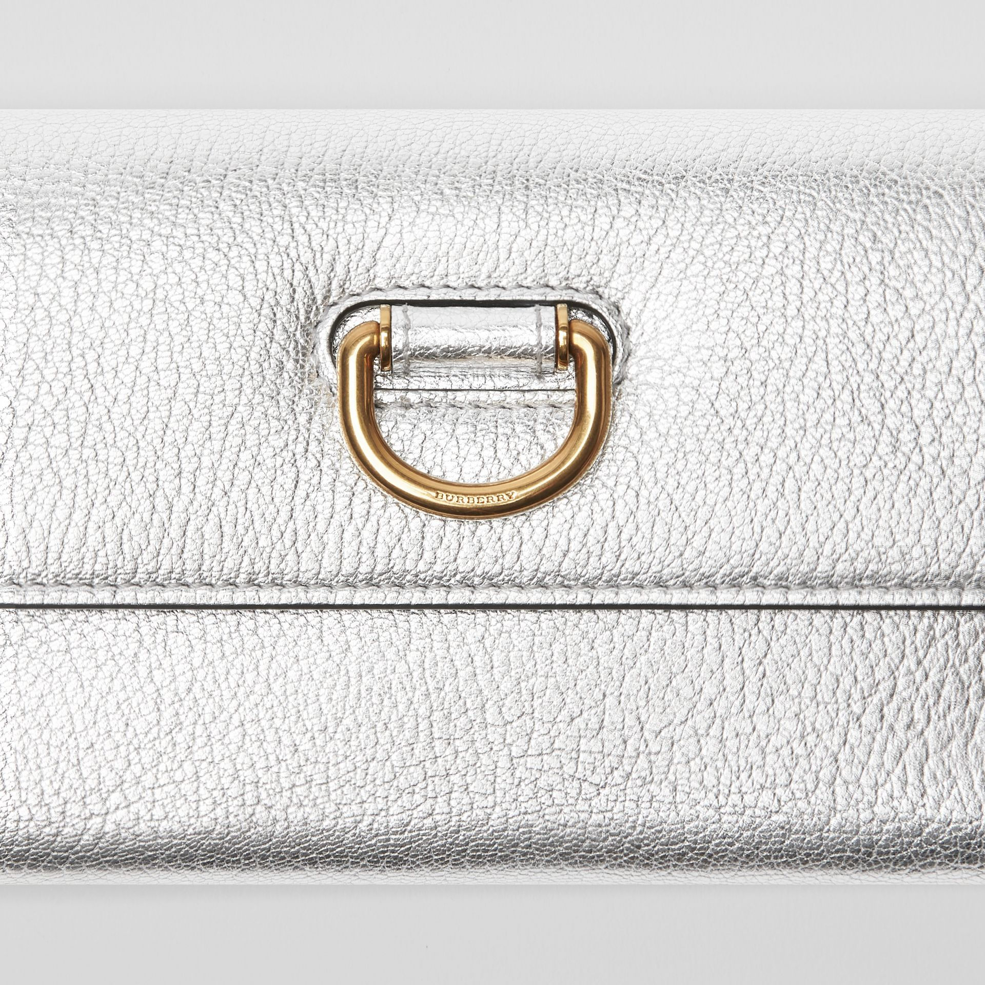 D-ring Metallic Leather Continental Wallet in Silver - Women | Burberry - gallery image 1