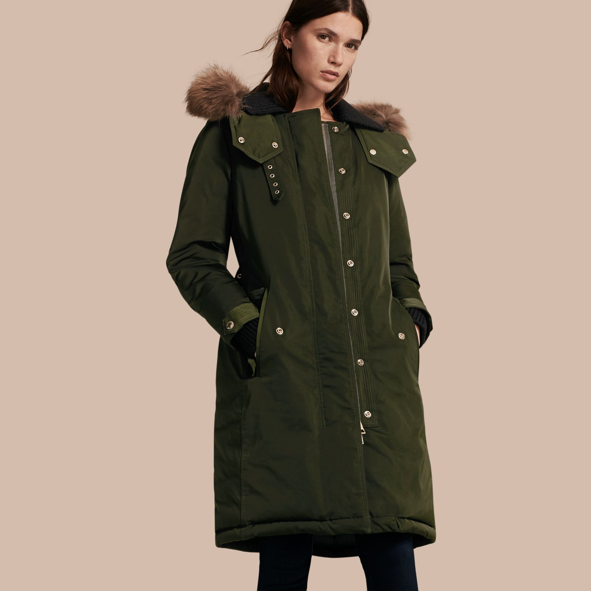 Dark cedar green Down-filled Parka Coat with Detachable Fur Trim Dark Cedar Green - gallery image 1
