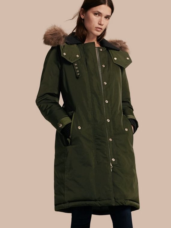 Down-filled Parka Coat with Detachable Fur Trim in Dark Cedar Green