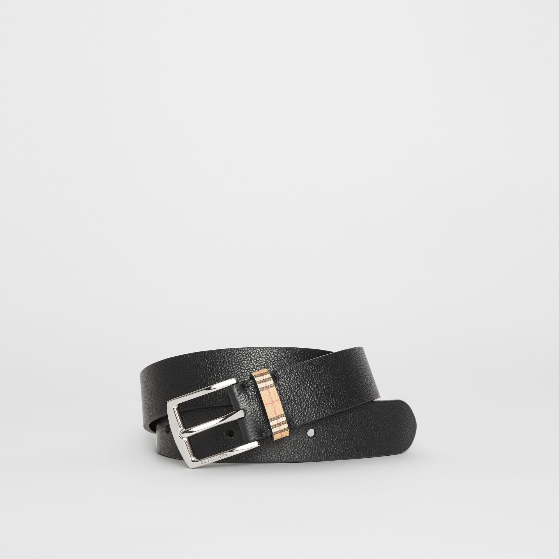 Check Detail Grainy Leather Belt in Black - Men | Burberry - gallery image 0