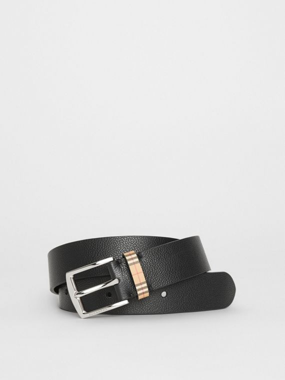 Check Detail Grainy Leather Belt in Black