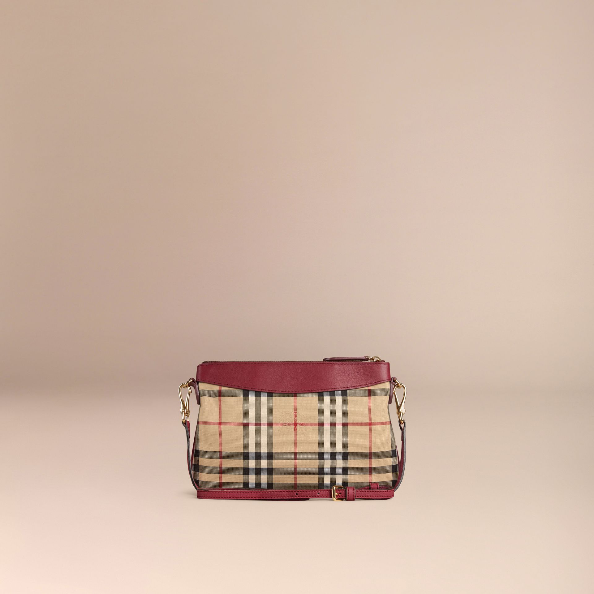 Dark plum Horseferry Check and Leather Clutch Bag Dark Plum - gallery image 5