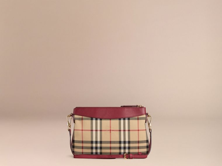 Dark plum Horseferry Check and Leather Clutch Bag Dark Plum - cell image 4