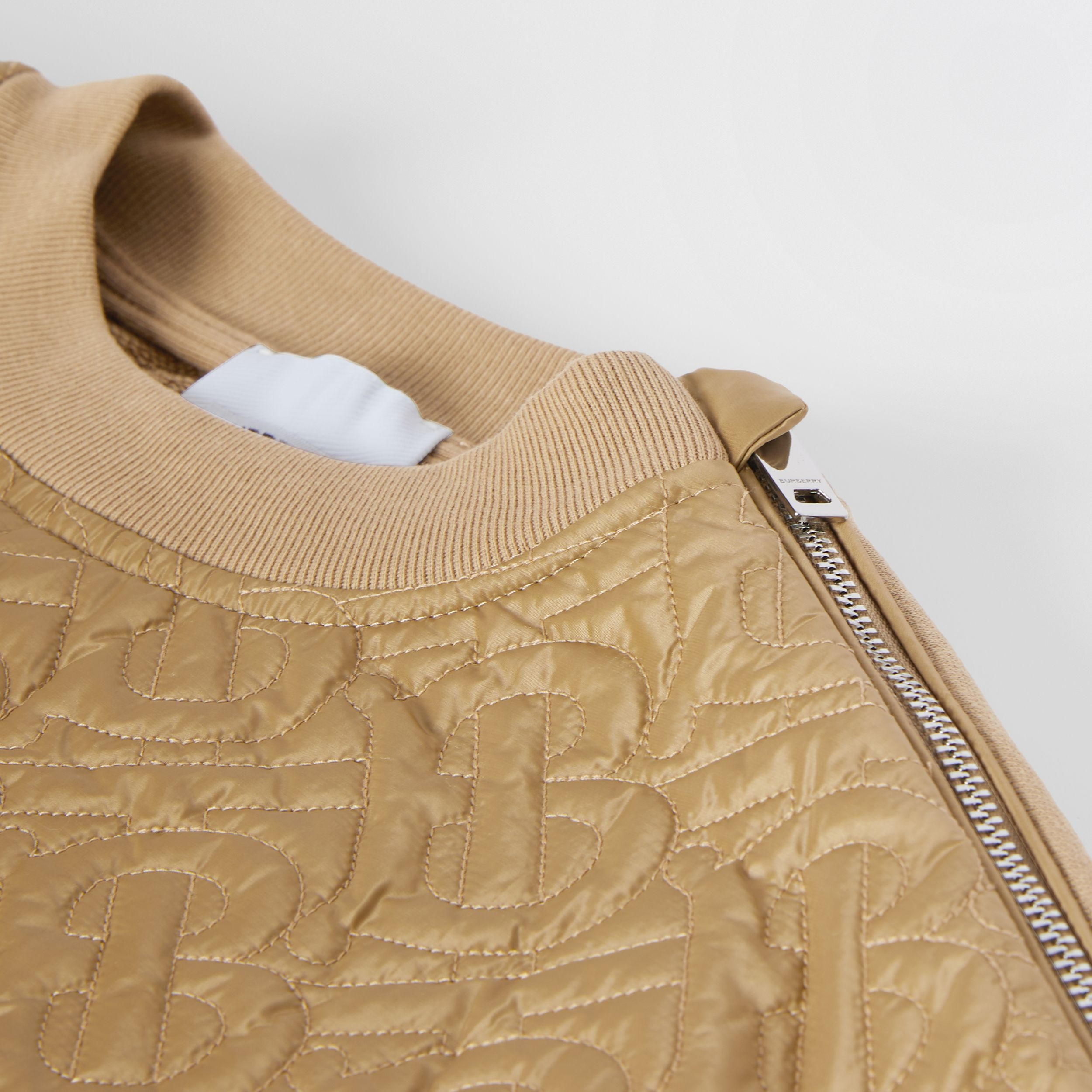 Monogram Quilted Panel Cotton Sweatshirt in Honey | Burberry - 2