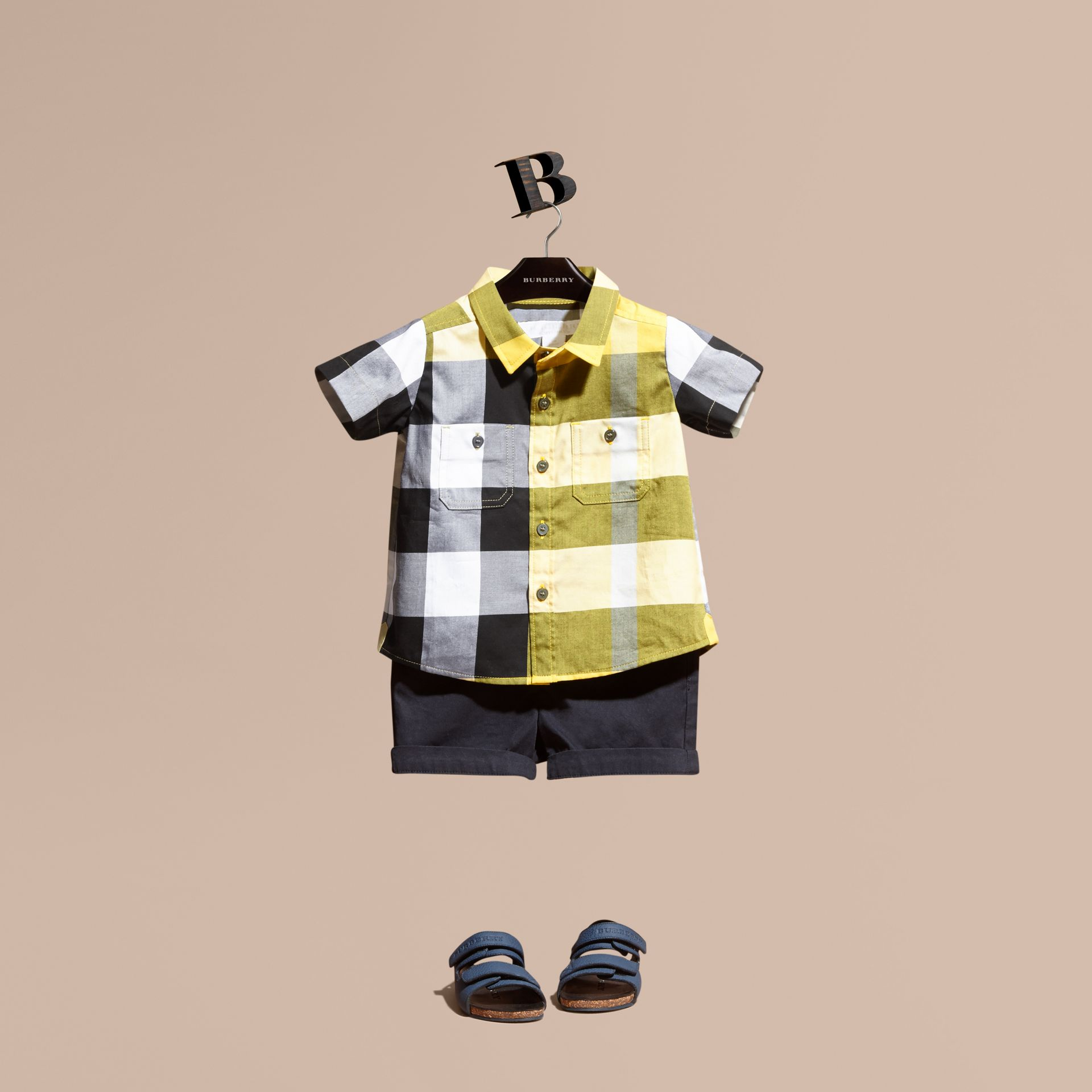 Short-sleeve Check Cotton Shirt in Bright Yellow - gallery image 1