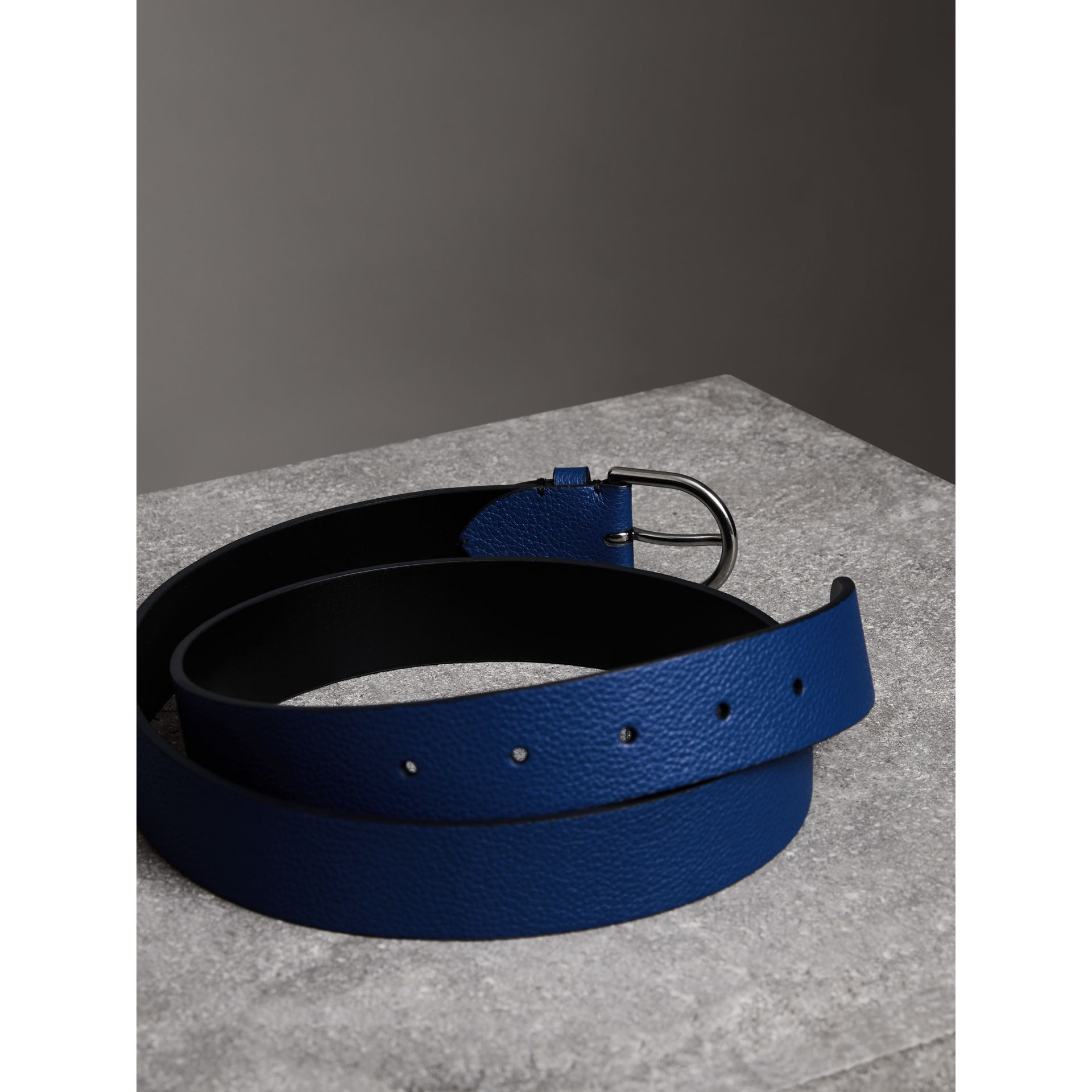 D-shaped Buckle Grainy Leather Belt in Bright Ultramarine - Men | Burberry - gallery image 3