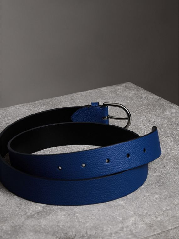 D-shaped Buckle Grainy Leather Belt in Bright Ultramarine - Men | Burberry - cell image 3
