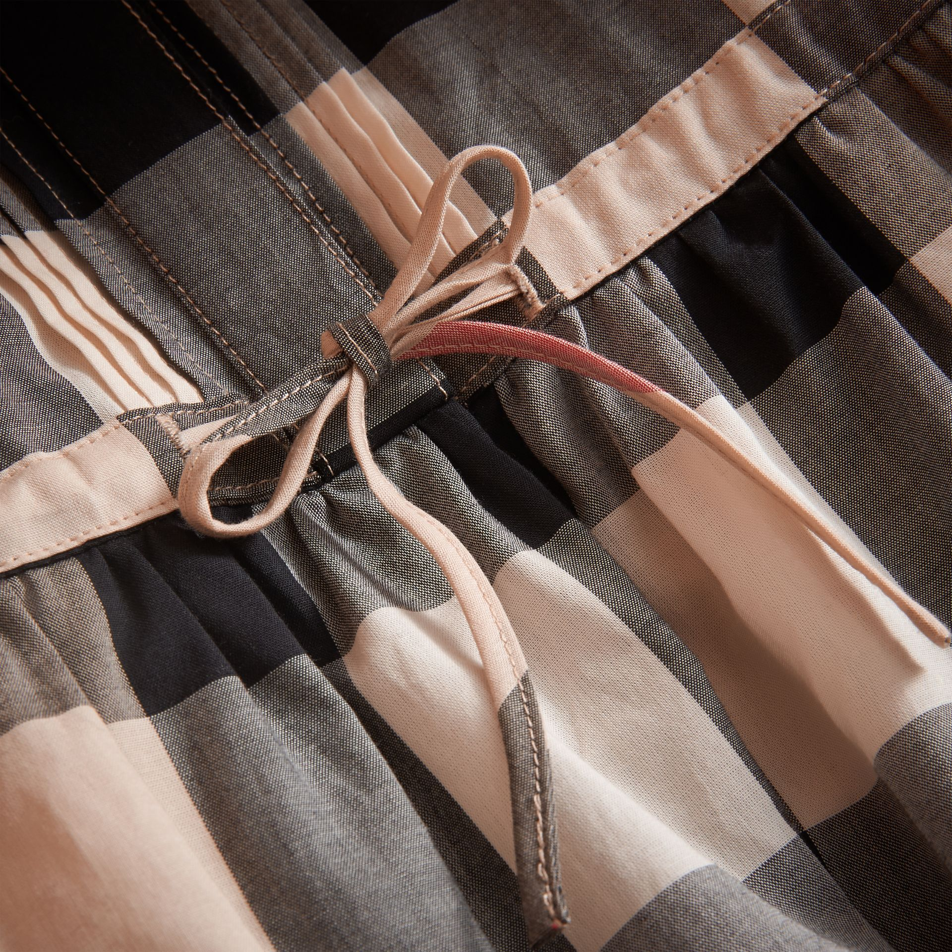 Collarless Check Drawcord Cotton Voile Dress in New Classic - Girl | Burberry Canada - gallery image 2