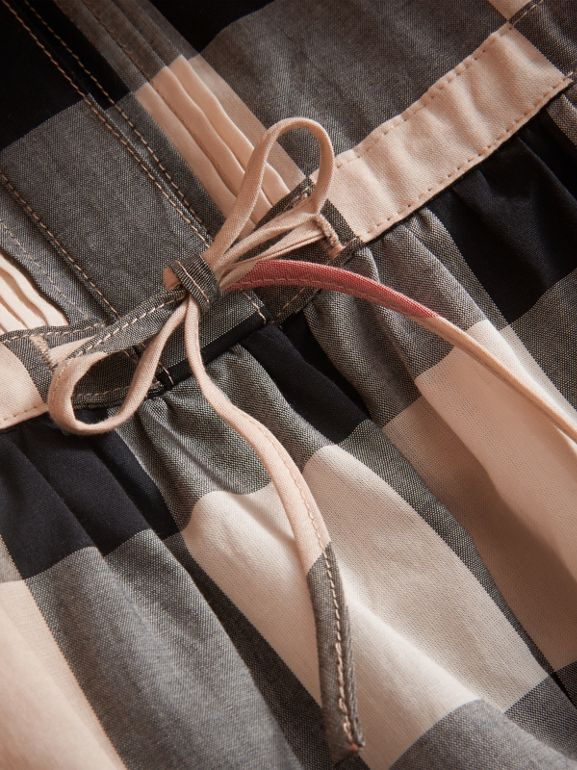 Collarless Check Drawcord Cotton Voile Dress in New Classic | Burberry United States - cell image 1