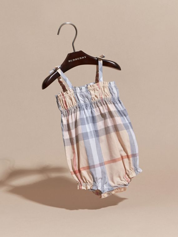 Ruched Check Cotton Bodysuit | Burberry Australia - cell image 2