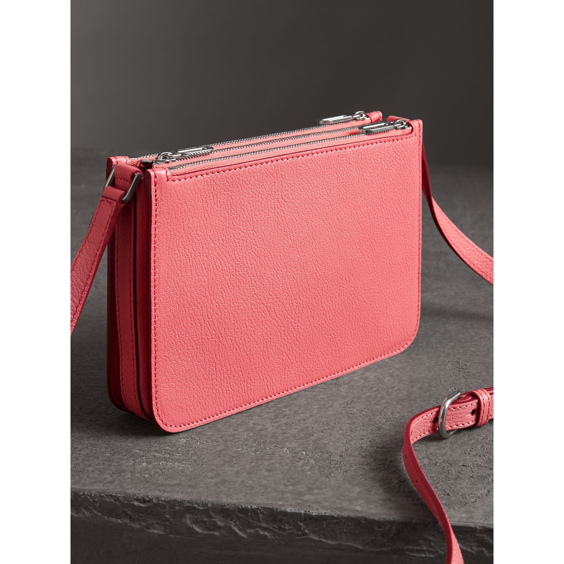 Triple Zip Grainy Leather Crossbody Bag in Bright Coral Pink - Women | Burberry Australia - gallery image 2