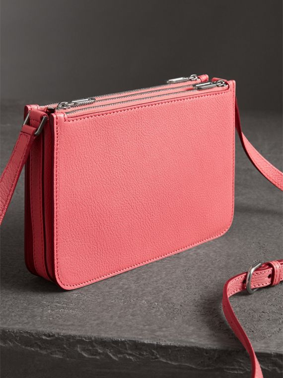 Triple Zip Grainy Leather Crossbody Bag in Bright Coral Pink - Women | Burberry Australia - cell image 2
