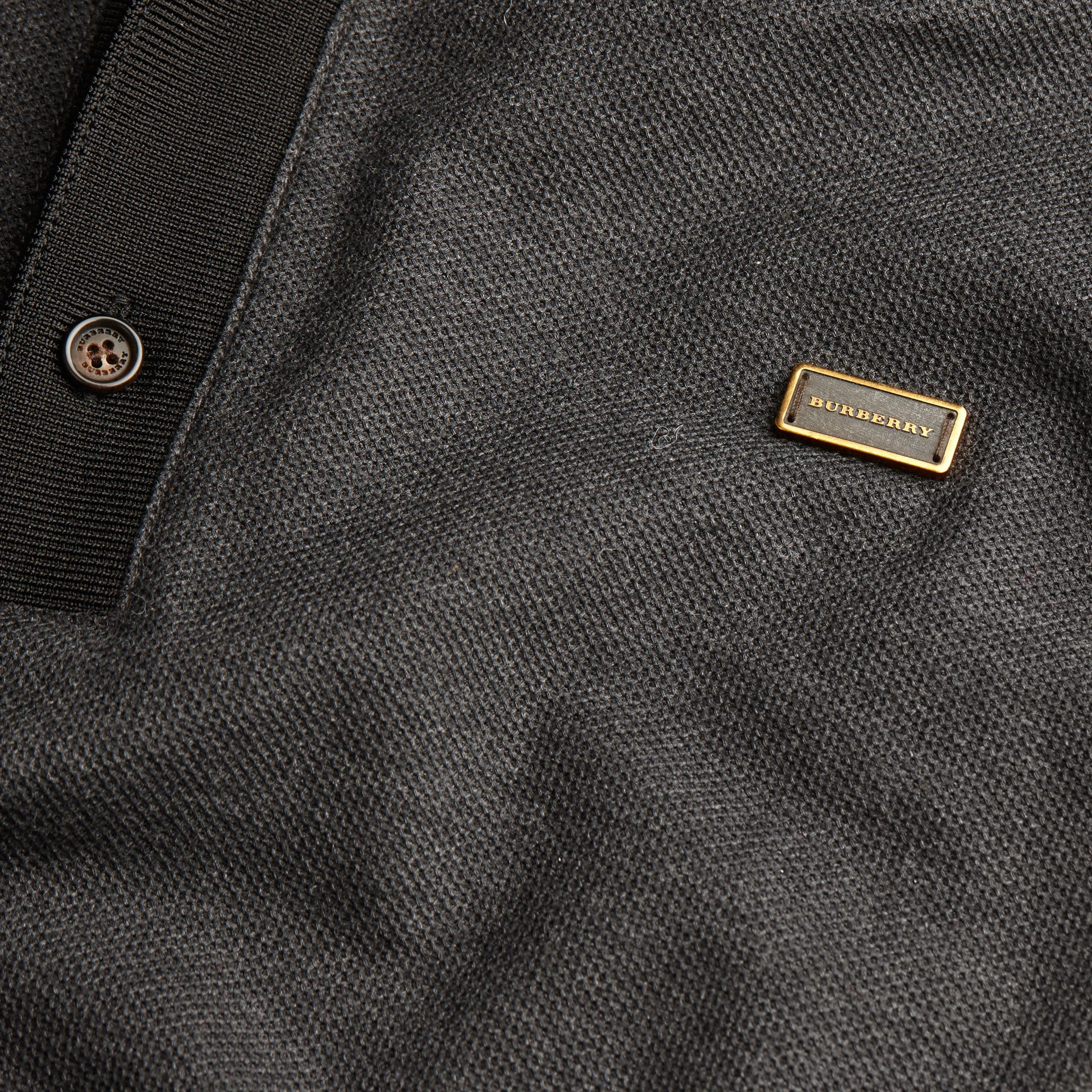 Charcoal/black Long-sleeved Cotton Piqué Polo Shirt Charcoal/black - gallery image 2