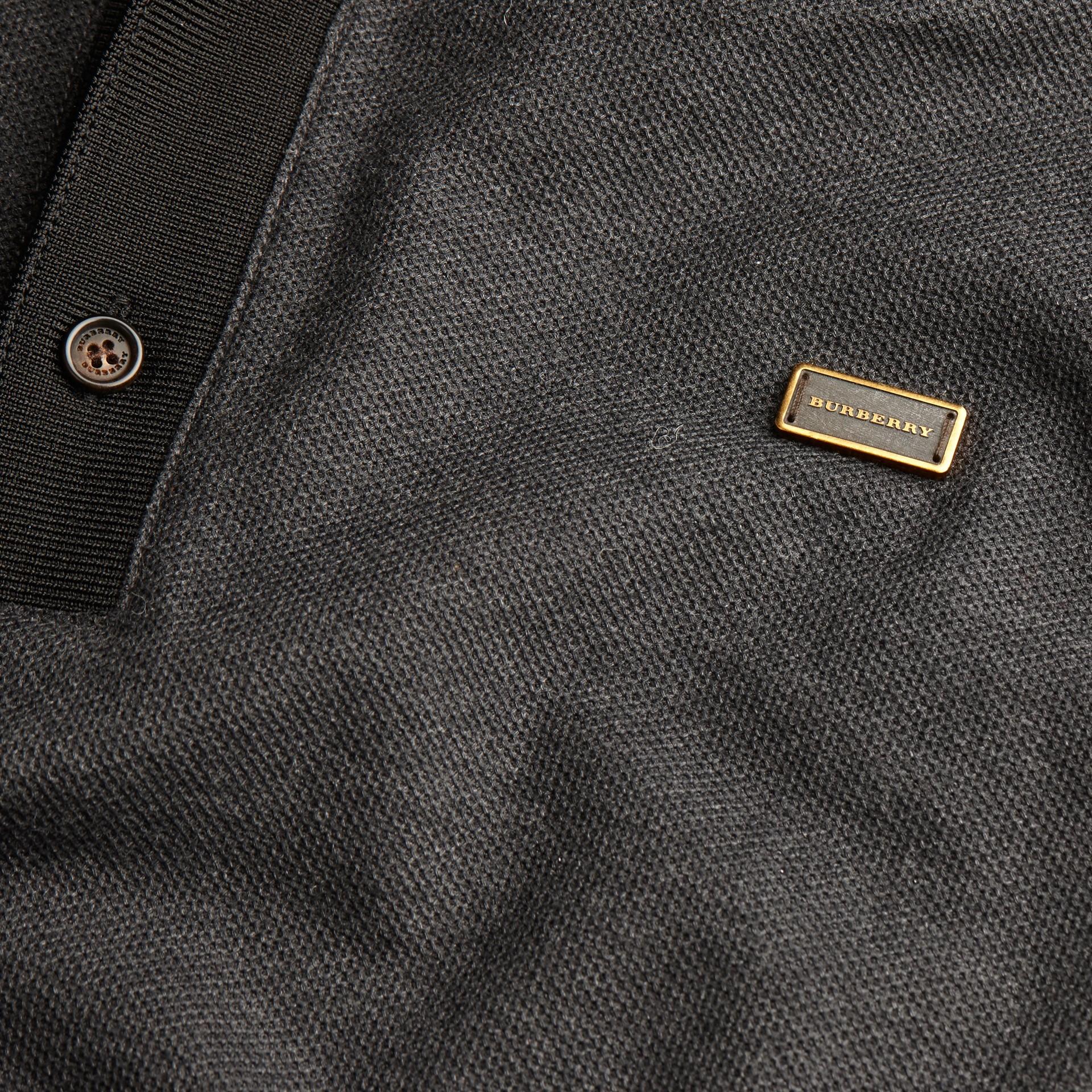 Anthracite/noir Polo en piqué de coton à manches longues Anthracite/noir - photo de la galerie 2