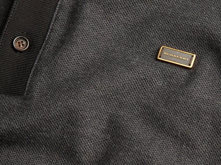 Anthracite/noir Polo en piqué de coton à manches longues Anthracite/noir - cell image 1