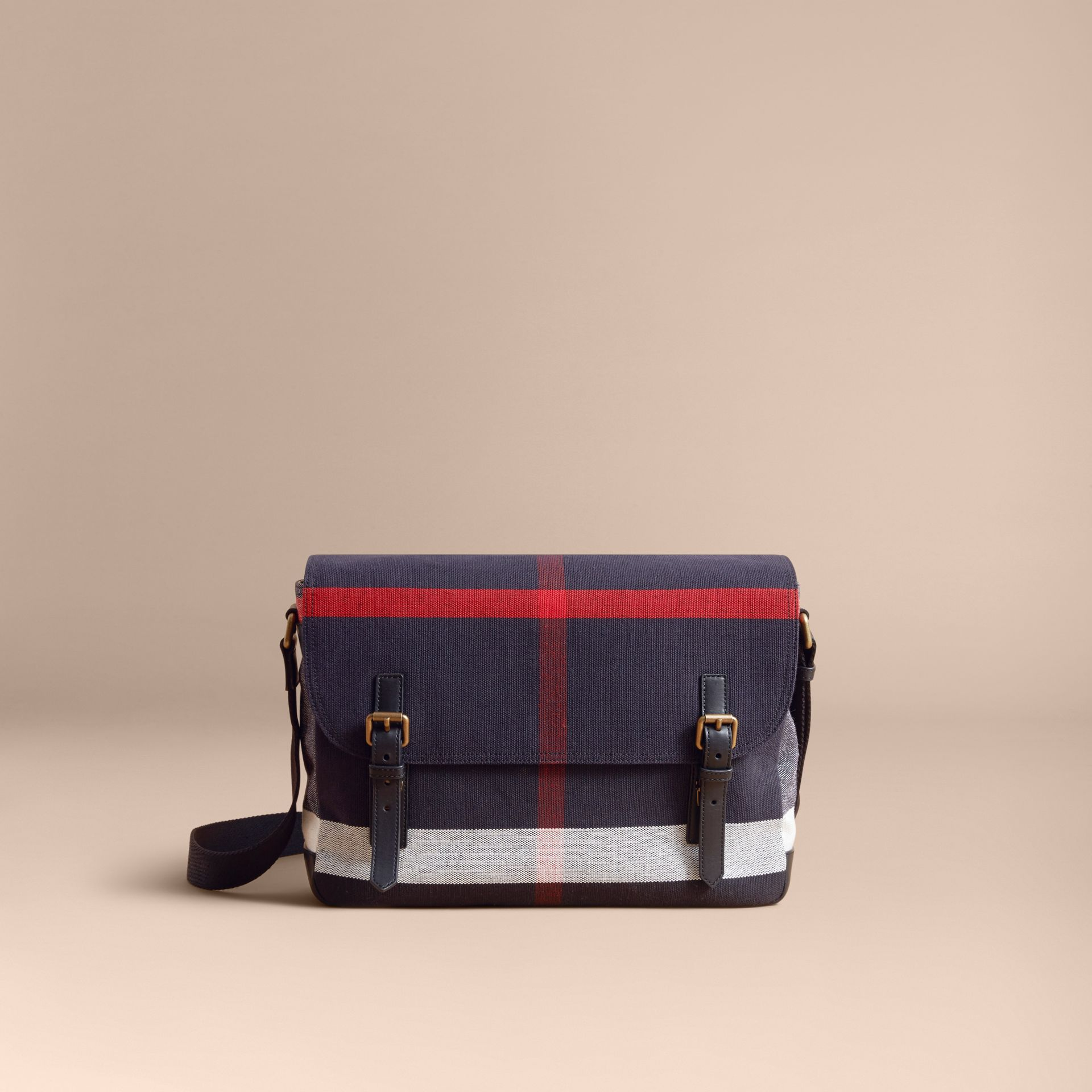 Medium Canvas Check Messenger Bag in Black - Men | Burberry - gallery image 7