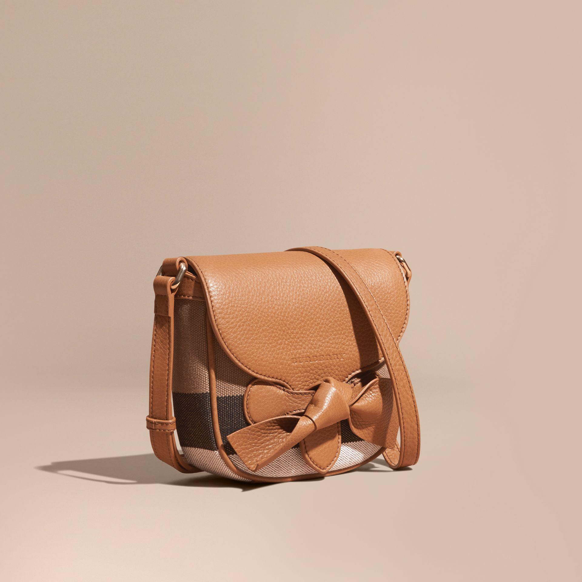 Sand Canvas Check Leather Crossbody Bag - gallery image 1
