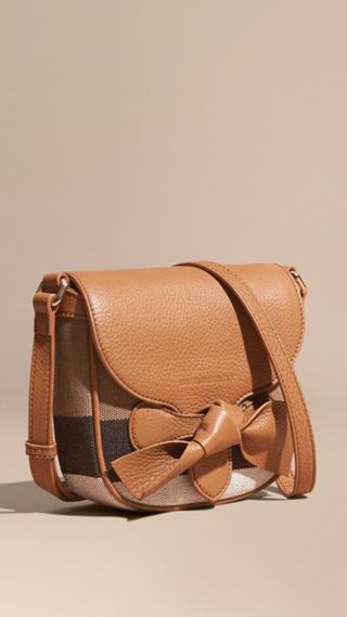 Canvas Check Leather Crossbody Bag