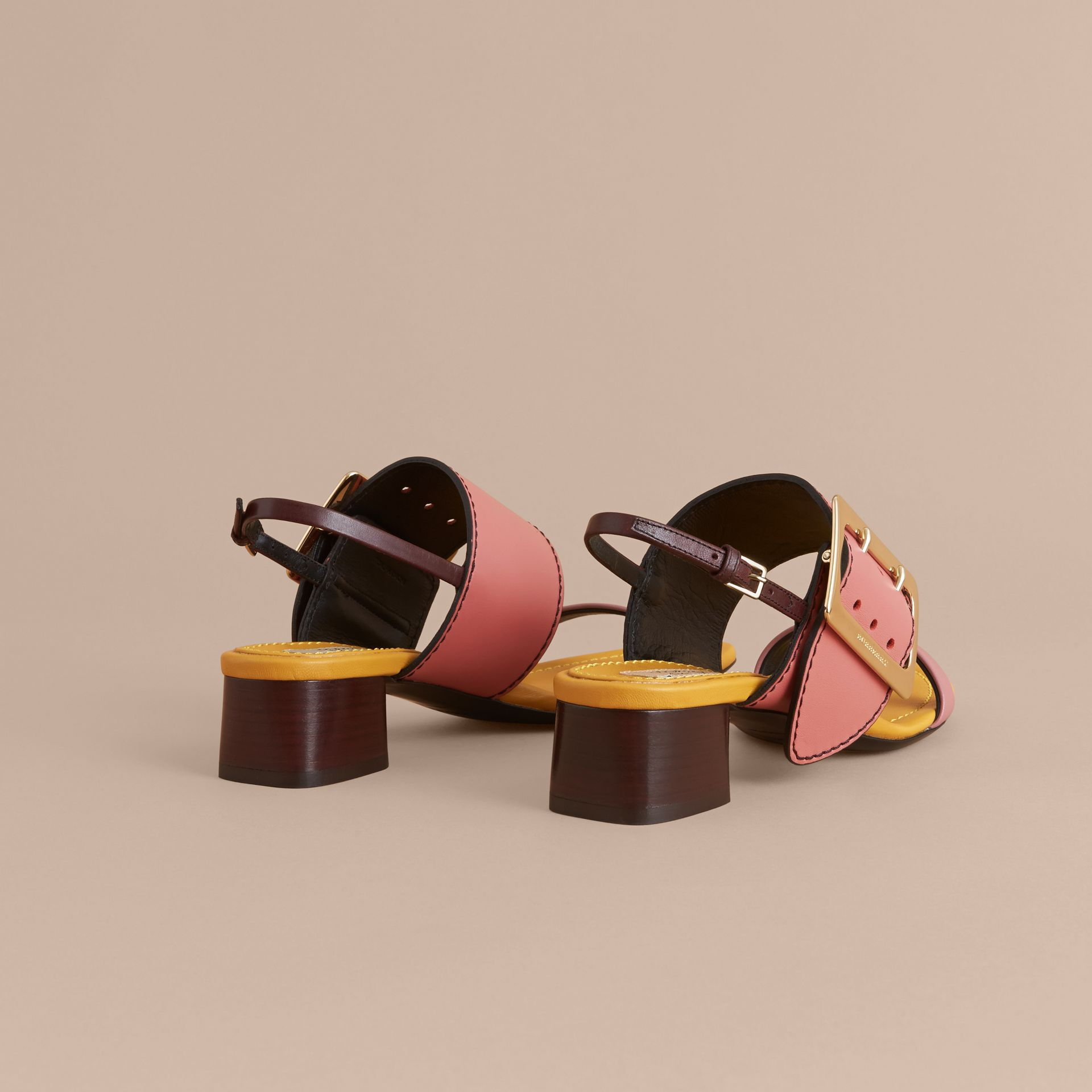 Colour Block Leather Sandals with Buckle Detail - gallery image 4