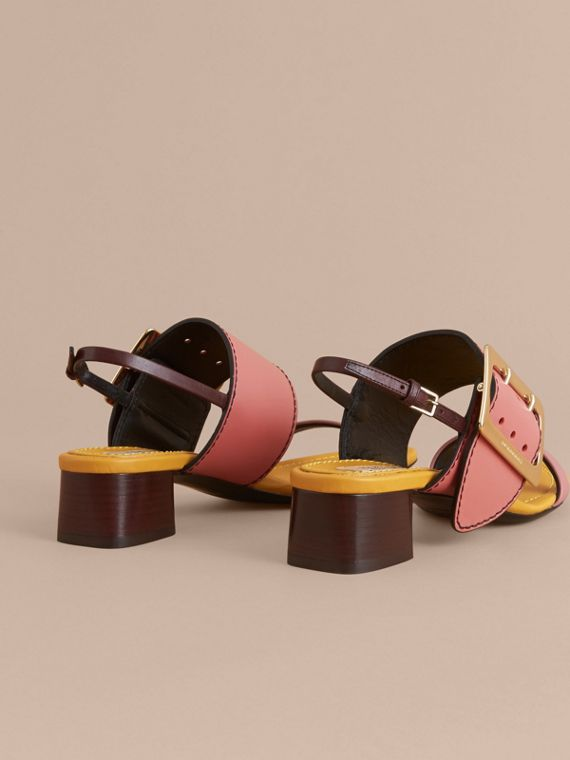 Colour Block Leather Sandals with Buckle Detail - cell image 3