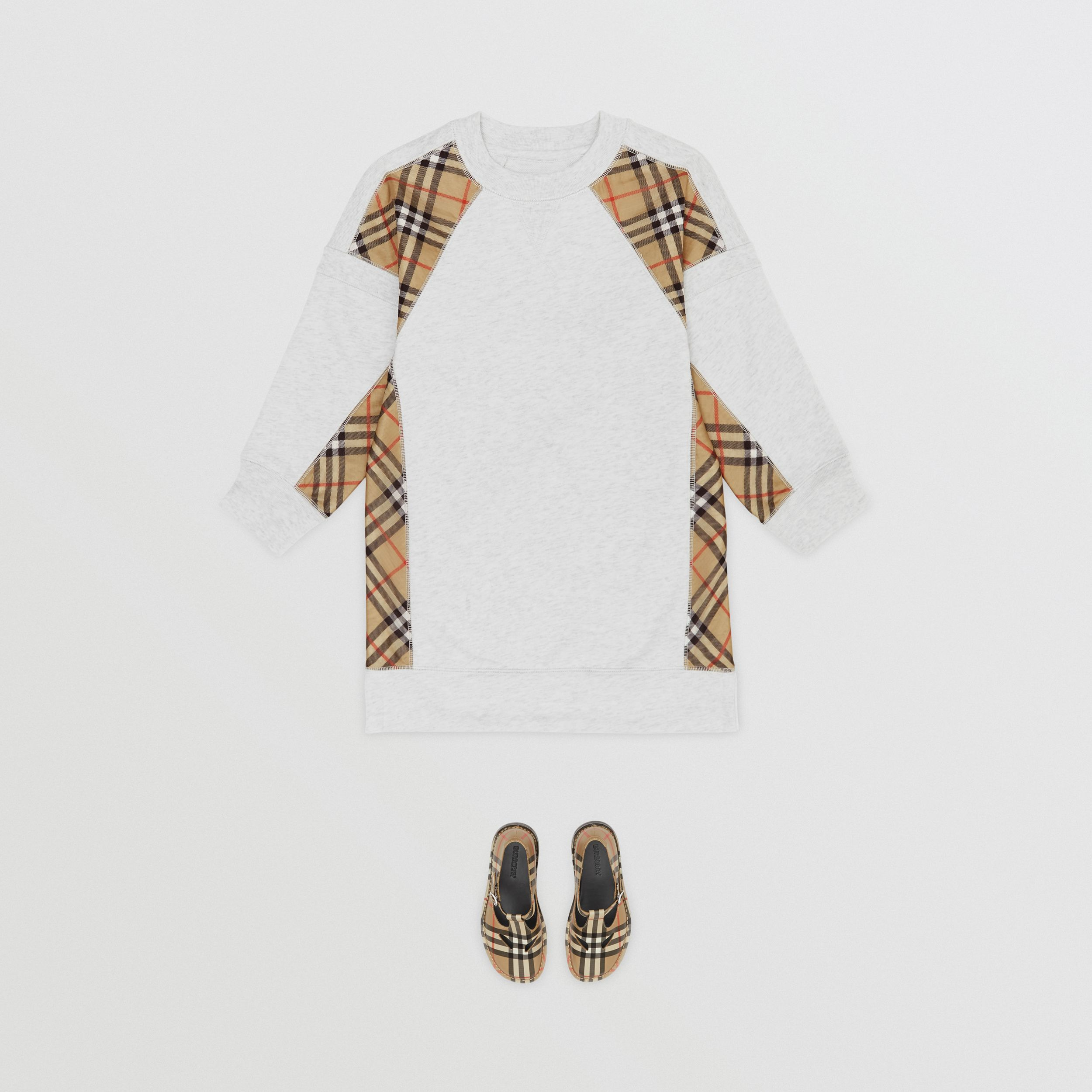 Vintage Check Panel Cotton Sweater Dress in White Melange | Burberry - 3