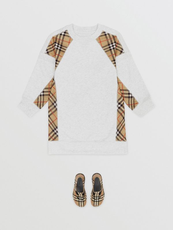 Vintage Check Panel Cotton Sweater Dress in White Melange | Burberry - cell image 2
