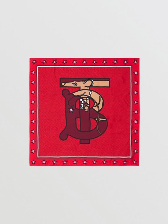 Pañuelo cuadrado en seda con motivo de monograma (Rojo Intenso)