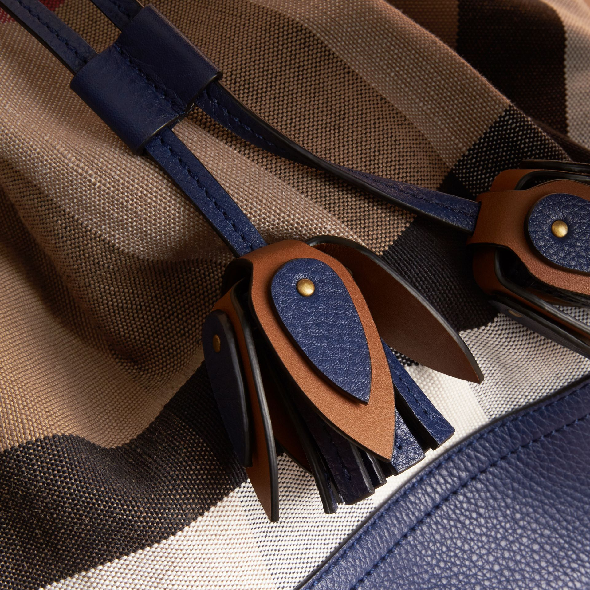 Medium Canvas Check and Leather Bucket Bag in Brilliant Navy - Women | Burberry - gallery image 2