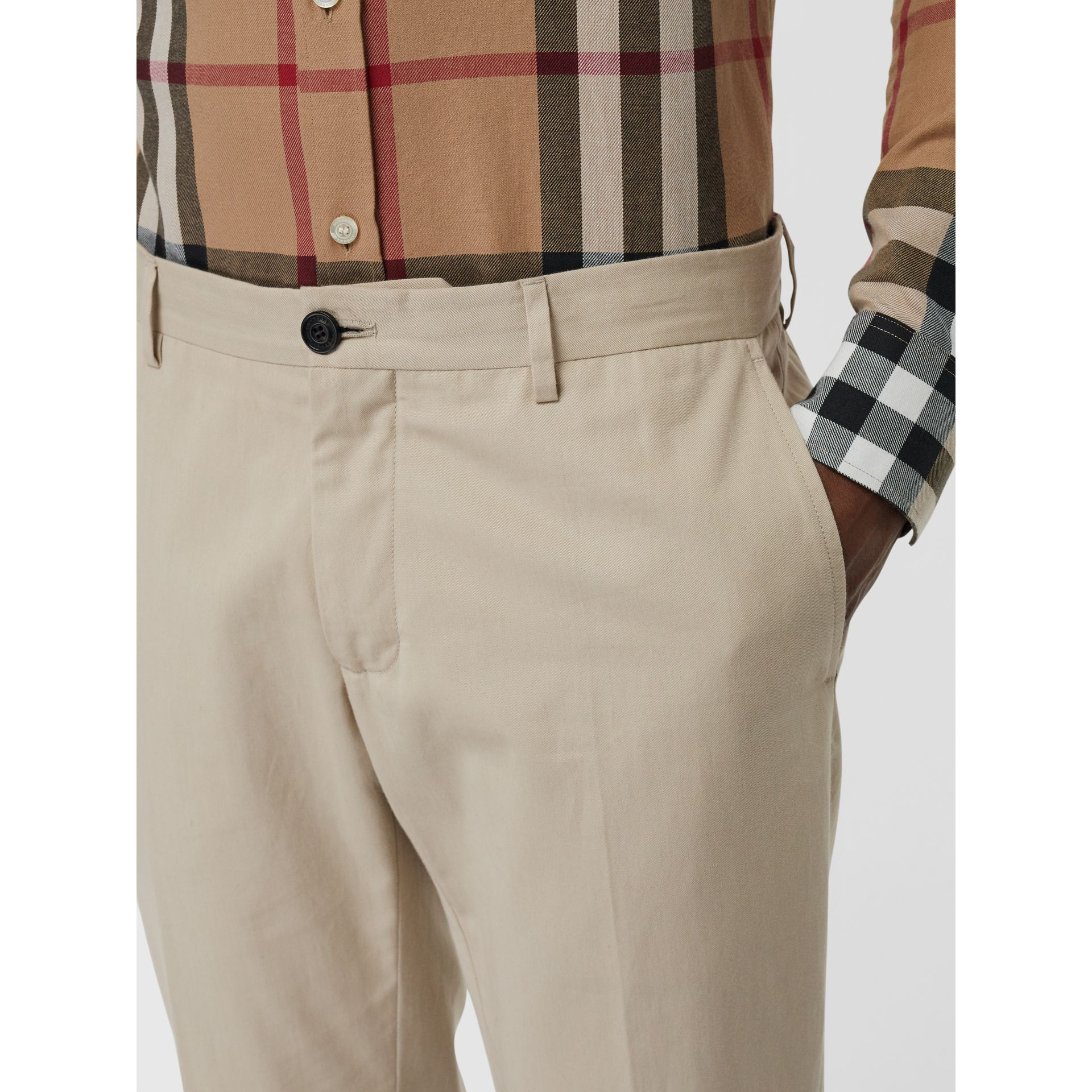 Slim Fit Cotton Blend Twill Chinos in Stone - Men | Burberry - gallery image 1