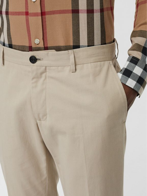 Slim Fit Cotton Blend Twill Chinos in Stone - Men | Burberry - cell image 1