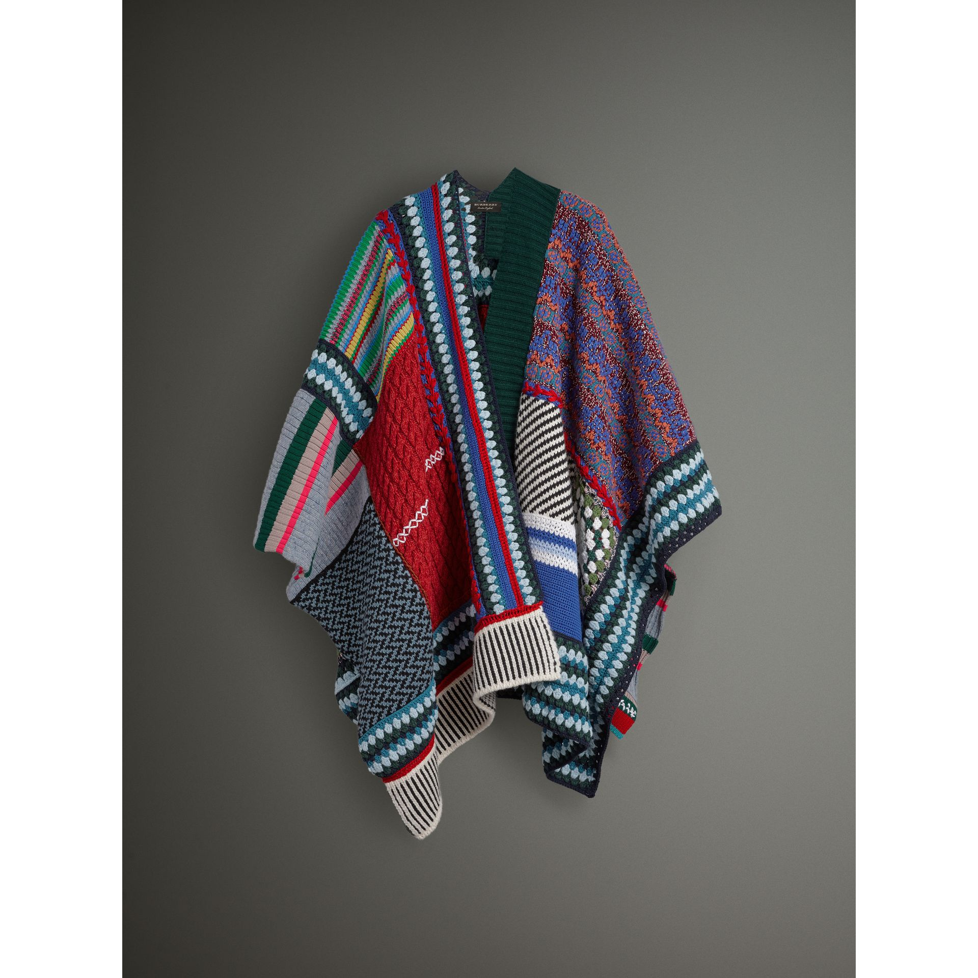 Cashmere Wool Blend Patchwork Poncho in Multicolour | Burberry Australia - gallery image 3