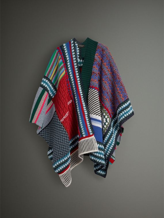 Cashmere Wool Blend Patchwork Poncho in Multicolour | Burberry Singapore - cell image 3