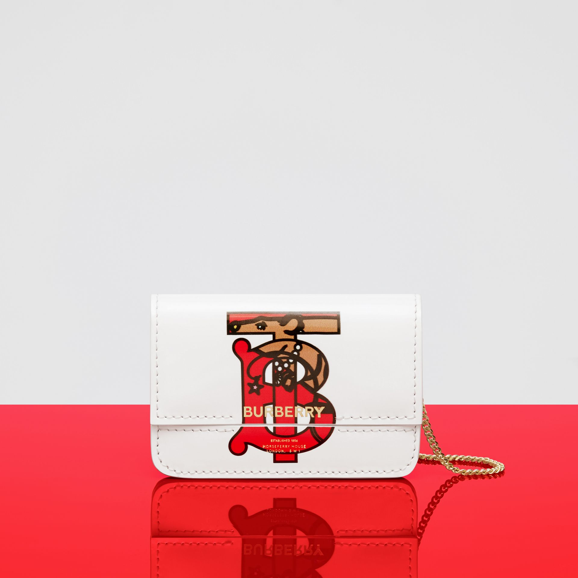 Monogram Motif Leather Card Case with Chain Strap in White | Burberry - gallery image 12